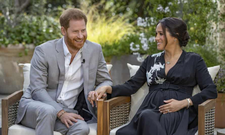 The Duke and Duchess of Sussex during an interview with Oprah Winfrey.