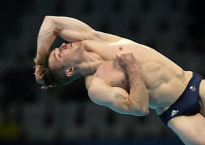 Jack Laugher of Britain competes in men's diving 3m springboard final.