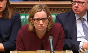 Amber Rudd answers a question in the House of Commons on the treatment of the Windrush generation, 26 April.