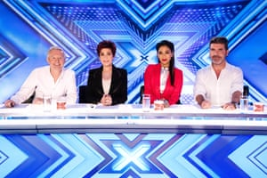 Sharon Osbourne on The X Factor in 2016 with fellow judges Louis Walsh, Nicole Scherzinger and Simon Cowell.