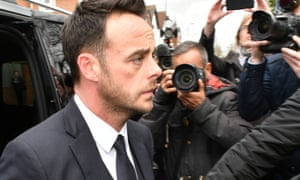 Ant McPartlin outside Wimbledon magistrates court in south-west London.