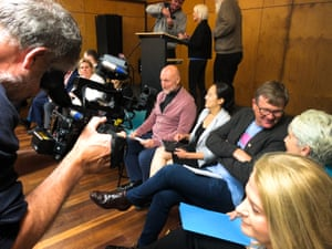 Candidates for the seat of Wentworth line up to speak at a byelection forum in Bondi.