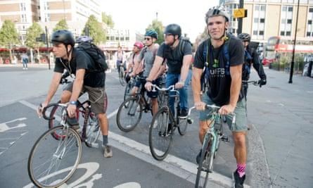 Cyclists near Old Street, London.