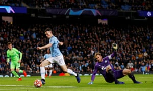 Manchester City's Phil Foden scores their sixth goal.