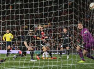 Nikolay Bodurov of FC Midtjylland scores an own-goal.