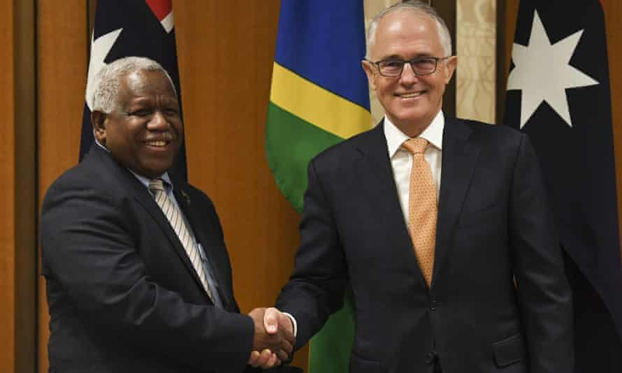 The Solomon Islands PM Rick Houenipwela meets Malcolm Turnbull in Canberra on Wednesday