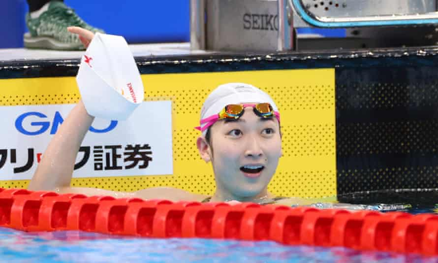 The Japanese swimmer Rikako Ikee celebrates at the national championships