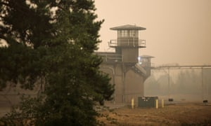 Oregon state penitentiary is seen as smoke from wildfires covers an area near Salem, Oregon.