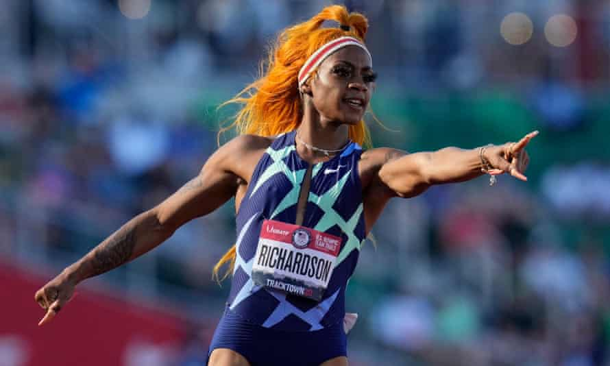 Richardson celebrates after winning the first round of the semi-finals in the women's 100 meters at the US Olympic track and field in June.