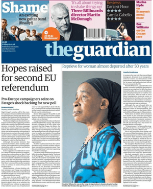 Guardian front page: 'Hopes raised for second EU referendum' and 'Reprieve for woman almost deported after 50 years'