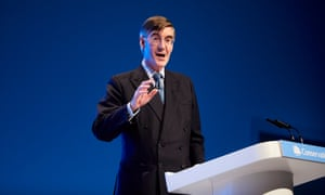 Drowning in his own suit … Jacob Rees-Mogg.