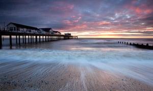 Southwold Pier at sunrise in Suffolk, UK.