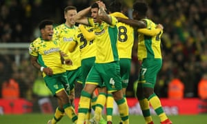 Norwich City's Ben Godfrey celebrates after his side secured promotion to the Premier League.