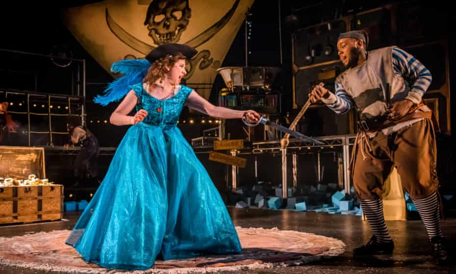 Isobel McArthur (Wendy) and Dorian Simpson (Smee/Doc Giles) in Wendy and Peter Pan at Royal Lyceum, Edinburgh