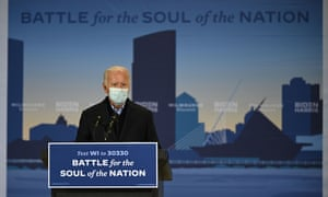 Joe Biden speaks at a hangar campaign event at Milwaukee Mitchell International Airport.