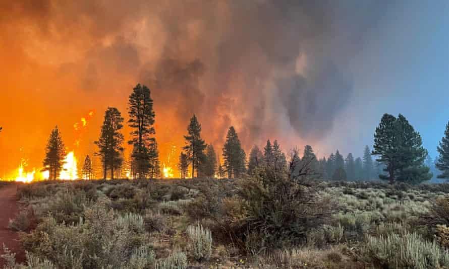 The Bootleg fire burns in south-east Oregon on Thursday.