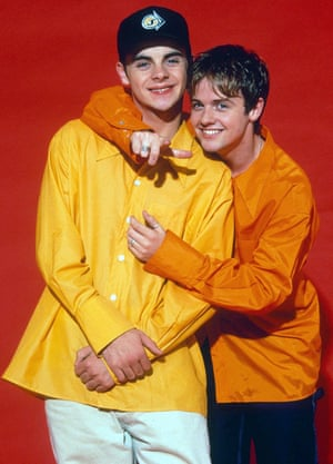 Ant (in yellow) and Dec as Byker Grove's PJ and Duncan in 1996.