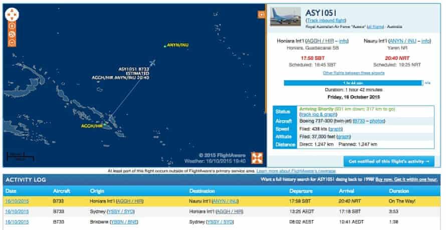 A screenshot showing a RAAF 737 jet on its way to Nauru.