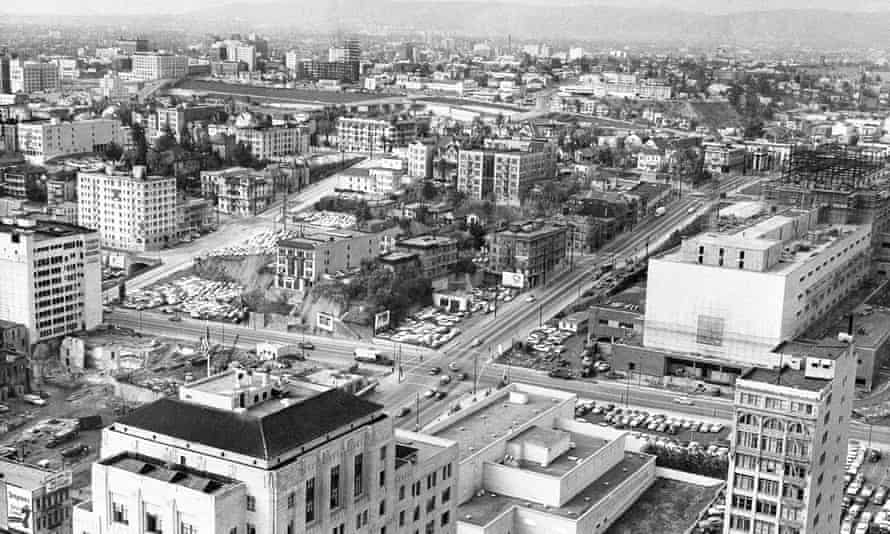 Bunker Hill in 1956 including mansions due to be razed under plans of the Community Redevelopment Agency. They will be replaced by a modern business and residential development