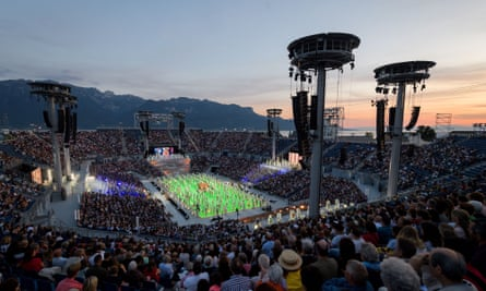 Performers at a stadium, during a rehearsal for the Fête des Vignerons in Vevey, Switzerland