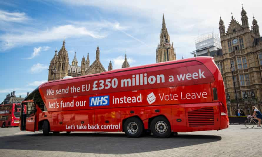 Vote Leave's campaign bus carrying its claim about increased funding for the NHS.