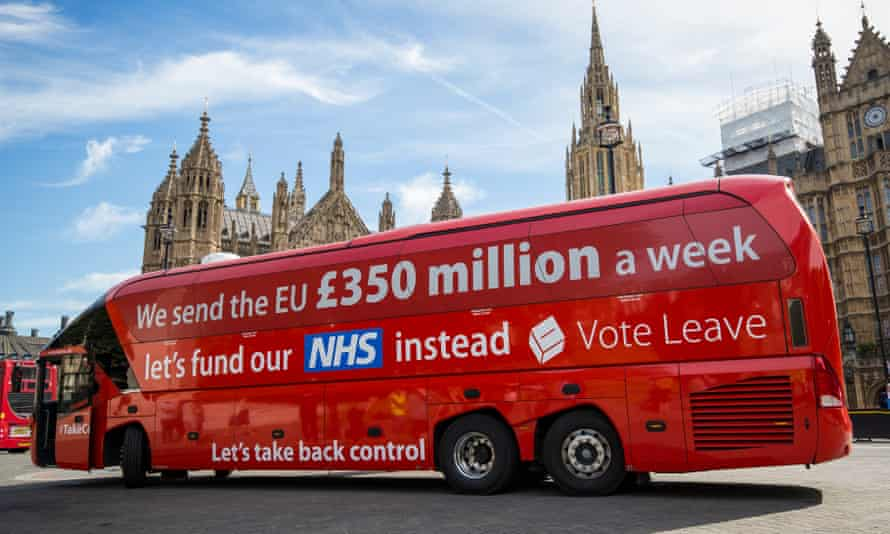 """Greenpeace Re-brands Boris Johnson's Brexit BattlebusLONDON, ENGLAND - JULY 18: A 'Vote LEAVE' battle bus is parked outside the Houses of Parliament in Westminster by the environmental campaign group Greenpeace before being re-branded on July 18, 2016 in London, England. The bus which was used during the European Union (EU) referendum campaign and had the statement """"We send the EU £350 million a week let's fund our NHS instead"""" along the side was today covered with thousands of questions for the new Prime Minister Theresa May and her government about what a 'Brexit' might mean for the environment. (Photo by Jack Taylor/Getty Images)"""