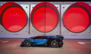The Bugatti Vision Gran Turismo is presented at the Volkswagen Group Night at the Fraport arena in Frankfurt, September, 2015.