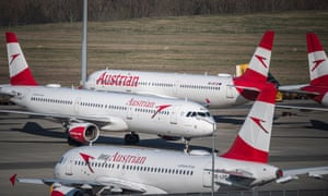 Austrian Airlines airplanes grounded at the Vienna International Airport (VIC) in Schwechat, Austria.