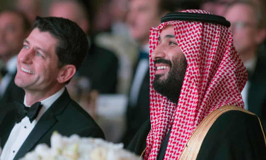 Mohammed bin Salman and the US Speaker of the House, Paul Ryan, attend the Saudi-US Partnership Gala event in Washington.