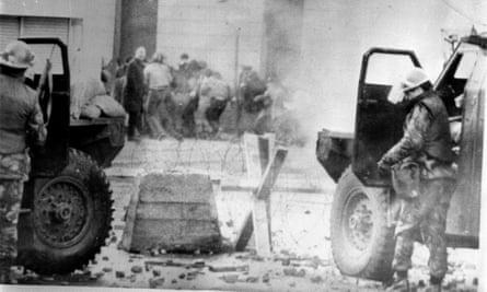 Soldiers use CS gas against rioters in Derry, 30 January 1972.