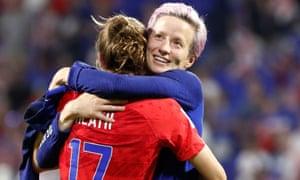 Megan Rapinoe and Tobin Heath celebrate USA's win over England