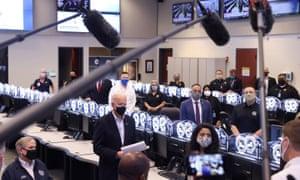 Joe Biden tours Harris County Emergency Operations Center, in Houston, TexasBiden, Texas Governor Greg Abbott and Harris County Judge Lina Hidalgo.
