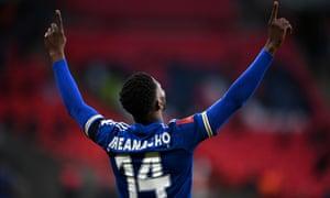 Kelechi Iheanacho of Leicester City celebrates after scoring.