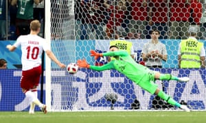 Danijel Subasic of Croatia saves Christian Eriksen's penalty in the shootout.
