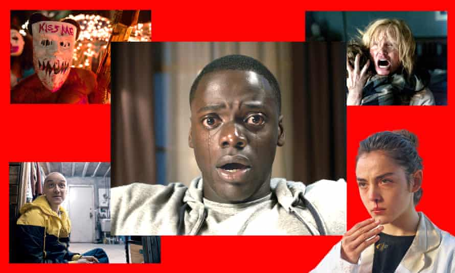 Clockwise from top left: The Purge, Get Out, The Babadook, Raw and Split