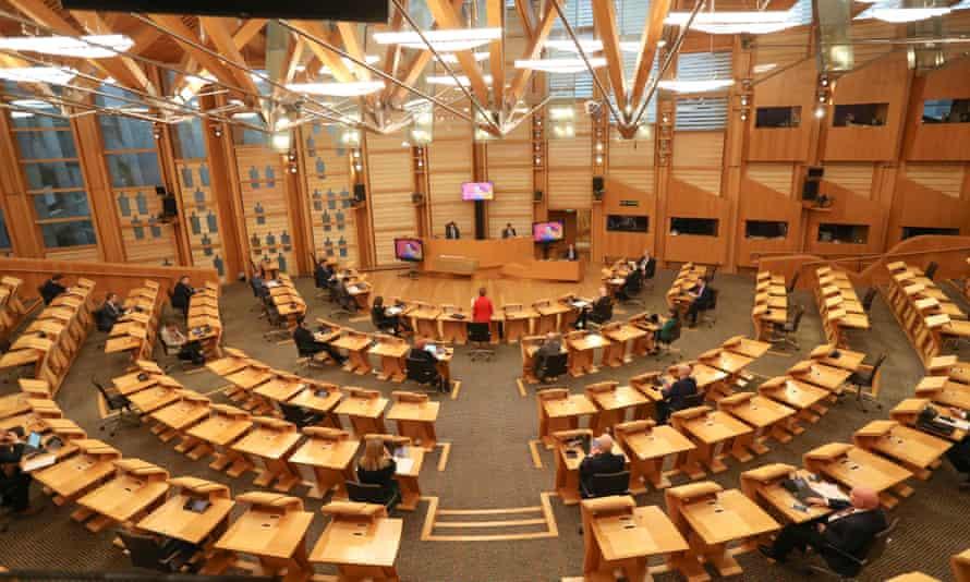 Nicola Sturgeon speaking in Holyrood
