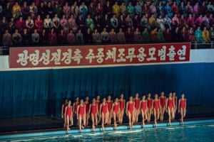 Pyongyang, North Korea Synchronised swimmers perform in a gala. The event was part of a series held to celebrate the birth of late North Korean leader Kim Jong-Il, who oversaw the country's first nuclear tests