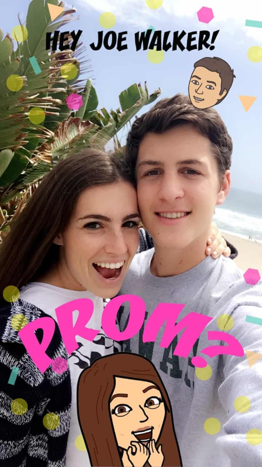 Megan Forbes, 18, uses a custom Snapchat filter to ask her boyfriend Joe Walker to prom.