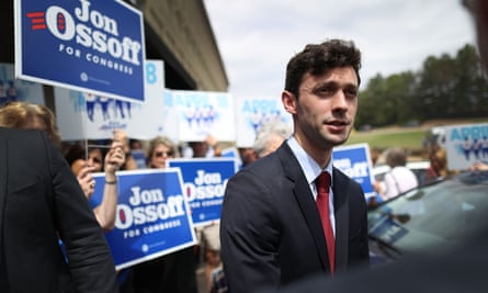 Democratic candidate Jon Ossoff speaks to the media on 17 April in Marietta, Georgia.