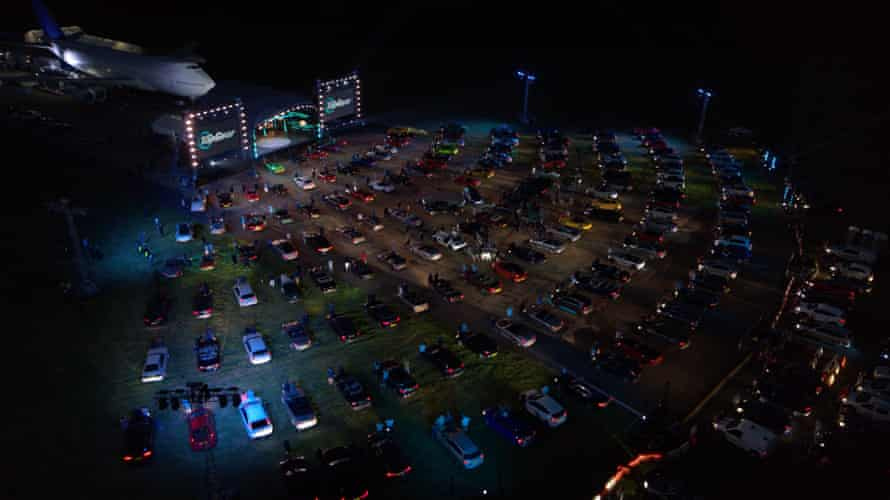 Aerial view of the outdoor drive-in show.