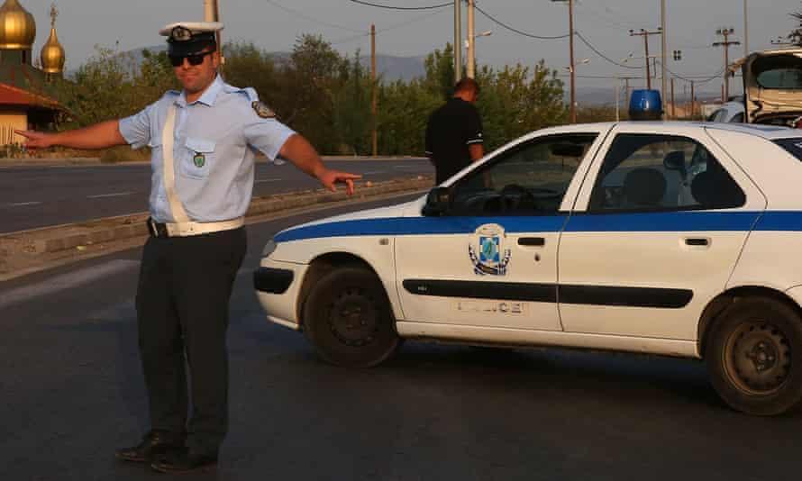 A Greek police officer