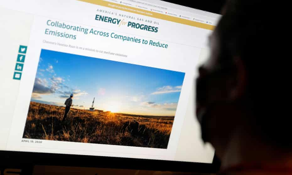 An ad paid for by API as part of its Energy For Progress campaign to cast natural gas as climate-friendly. API's chief executive has pledged to resist a raft of Biden's environmental measures.
