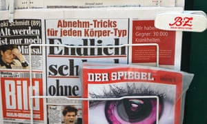 Copies of Der Spiegel on sale with other German newspapers