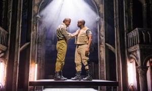 Hugh Quarshie (Othello) and Lucian Msamati (Iago) in Othello, Stratford-upon-Avon, 2015.