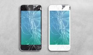 Broken mobile phone screen