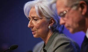 International Monetary Fund Managing Director Christine Lagarde speaking during a news conference in Washington, DC.