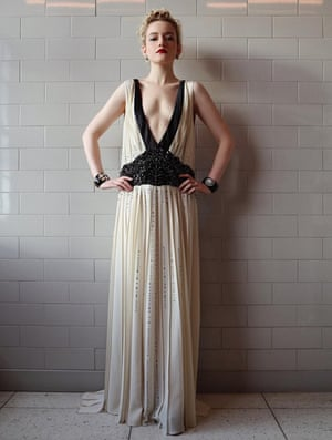 Julia Garner, who was nominated for best supporting actress in a TV series for her role in Ozark, went in for the plunge in an elegant, 1920s-esque Prada gown with a deep-V neckline.