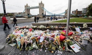 Floral tributes to the victims of the London Bridge attacks.