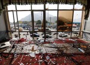 Broken glass and debris inside a restaurant a day after a suicide attack in Kabul, the Afghan capital, in July 2016