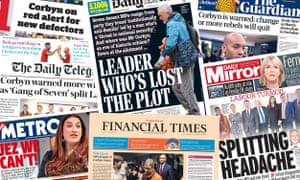 Front pages of the UK Papers on 19 February following the defection of seven MPs from the Labor Party.